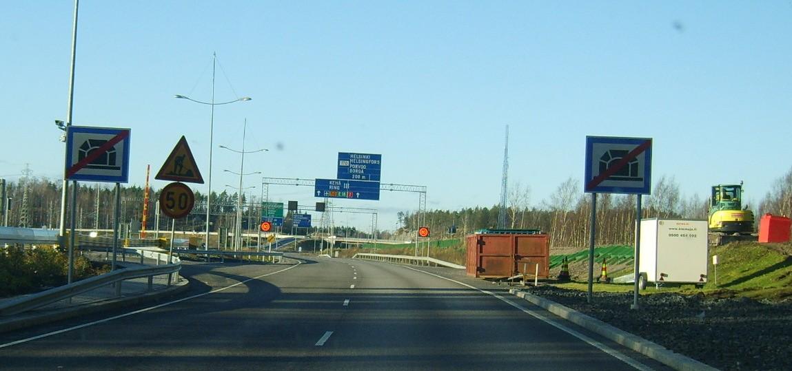 Дорога из Vuosaari Harbour Centre по Третьему автомобильному кольцу, поворот на Котку и Санкт-Петербург
