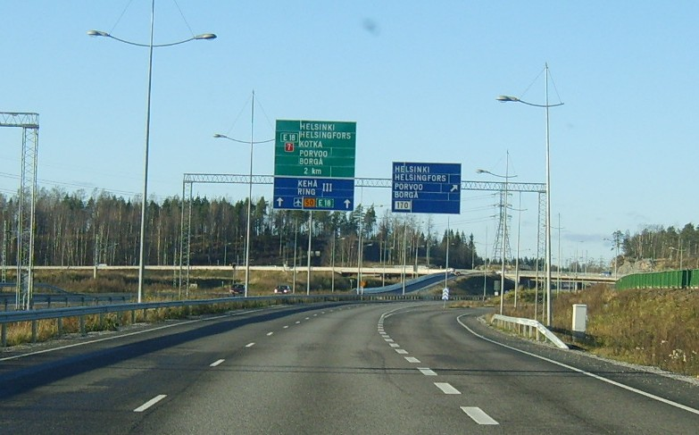 Дорога из Vuosaari Harbour Centre по Третьему автомобильному кольцу